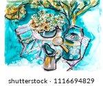 garden life illustration  mix... | Shutterstock . vector #1116694829