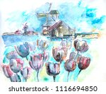 typical holland  ink ... | Shutterstock . vector #1116694850