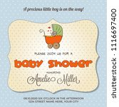 baby shower card with stroller ... | Shutterstock .eps vector #1116697400
