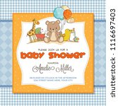 baby shower card with toys ... | Shutterstock .eps vector #1116697403