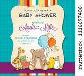 baby shower card with toys ... | Shutterstock .eps vector #1116697406