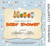 baby shower card with toy train ... | Shutterstock .eps vector #1116697409