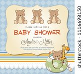baby shower card with teddy... | Shutterstock .eps vector #1116698150