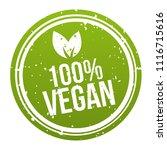 green 100  vegan badge button.... | Shutterstock .eps vector #1116715616