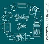 shopping cart  payment terminal ...   Shutterstock .eps vector #1116728174