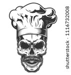monochrome vintage skull in... | Shutterstock .eps vector #1116732008