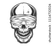 monochrome vintage skull with... | Shutterstock .eps vector #1116732026