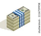 many packs of dollar bills ...   Shutterstock .eps vector #1116739958