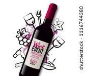 background wine icons drawn... | Shutterstock .eps vector #1116744380