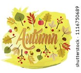 written the word autumn with... | Shutterstock .eps vector #1116750689