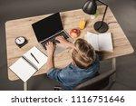 overhead view of schoolboy... | Shutterstock . vector #1116751646