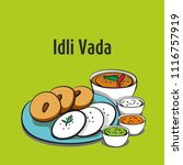 south indian food idli vada | Shutterstock .eps vector #1116757919