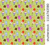 ice cream cones  pattern... | Shutterstock .eps vector #1116763580