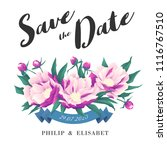 save the date with peonies.... | Shutterstock .eps vector #1116767510
