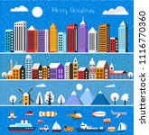 set of houses and objects | Shutterstock . vector #1116770360