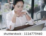 business woman working in... | Shutterstock . vector #1116775460