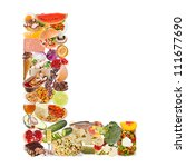letter l made of food isolated... | Shutterstock . vector #111677690