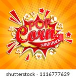 exploding label for popcorn on... | Shutterstock .eps vector #1116777629