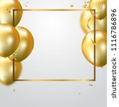 gold balloons and confetti... | Shutterstock .eps vector #1116786896