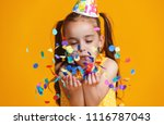 happy birthday child girl with... | Shutterstock . vector #1116787043
