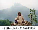 young female tourist looking on ... | Shutterstock . vector #1116788006