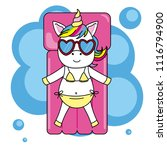 unicorn with sunglasses and...   Shutterstock .eps vector #1116794900
