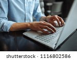 hands close up  typing on the... | Shutterstock . vector #1116802586