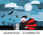 cute vampire and moon cat at...   Shutterstock .eps vector #1116806270