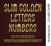 slim golden letters  numbers ... | Shutterstock .eps vector #1116812498