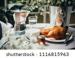 breakfast with croissants and... | Shutterstock . vector #1116815963