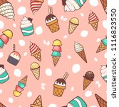 ice cream seamless pattern... | Shutterstock .eps vector #1116823550