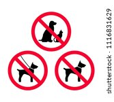no dogs  no pets  no leash dogs ... | Shutterstock .eps vector #1116831629