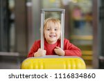 cute happy little boy with big... | Shutterstock . vector #1116834860