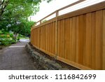 new cedar wood fence around... | Shutterstock . vector #1116842699