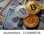 golden bitcoin coin on us... | Shutterstock . vector #1116848528