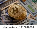 golden bitcoin coin on us... | Shutterstock . vector #1116848534