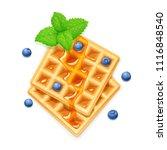 belgian waffle  blueberries ...   Shutterstock .eps vector #1116848540