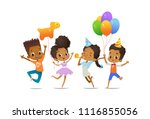 excited african american boys... | Shutterstock . vector #1116855056