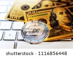 golden dash coin and mound of... | Shutterstock . vector #1116856448