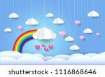 rainbow and clouds in the blue... | Shutterstock .eps vector #1116868646