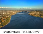 Columbia River flowing under bridges and through the Tri-Cities of Washington