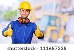 engineer with thumps up  outdoor | Shutterstock . vector #111687338