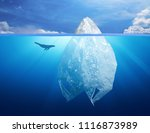 plastic bag iceberg with dolphin, environment pollution