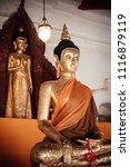 beautiful old buddha sculpture... | Shutterstock . vector #1116879119
