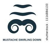 mustache swirling down icon....