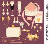 wedding bride dress accessories ... | Shutterstock .eps vector #1116886808