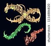 notes vector music neon melody... | Shutterstock .eps vector #1116886820