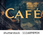 old cafe sign | Shutterstock . vector #1116898904
