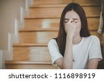 asian teenage feeling depressed ... | Shutterstock . vector #1116898919