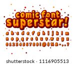 star orange and red comic font... | Shutterstock .eps vector #1116905513